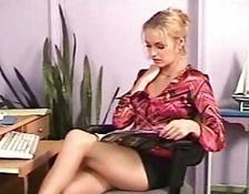 secretary with a very short skirt on