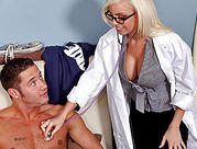 large tit blonde nurse take care of her patient