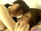 2 Schoolgirls In Skirt Fingering Each Other Shaved Pussies On The Bed In The Bedroom by sotegune