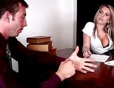 sweet besty chick fucking a man in her office