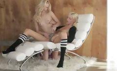 Unique blondy lezzies in daddys office
