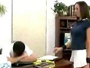 dude sticks his face in the ass of an office worker