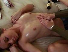 Lesbian Girlfriends Get Oiled Up and Play naughty