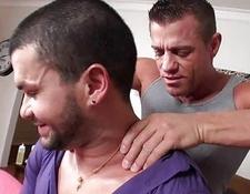 Muscled gay hunk gets an oiled massage