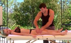 Busty yellow-haired gets her lovely body massaged sensually