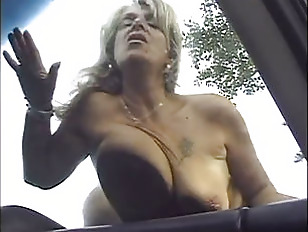 blondy old lady boned outdoors