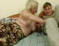 Drunk MILF seduced by young lover