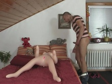 Horny man drills his GF's mom cunt