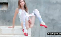 Gloria strips her stockings and spreads pink snatch