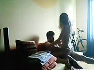 girl mounts Her bf Like Crazy And Orgasms