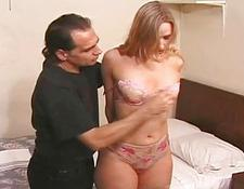 Slave gagged and vagina whipped