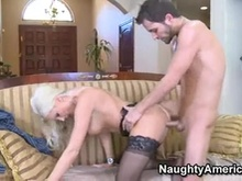 Excited momma Sue Diamond loves the warmth of her man's cum on her mouth