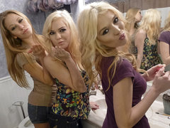 three blondy college hoes share 2 studs for a group fuck