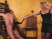Slave gagged and pussy whipped