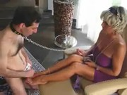 Feet licking by slave