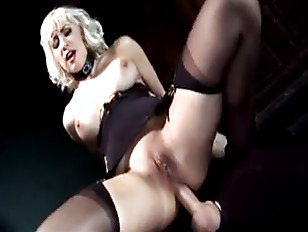 yellow-haired mistress uses slave for anal p.