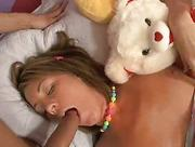 massive rod is shoved in her face while she is sleeping