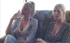 Strong girls with disappointing stink boxes smoke some cigs