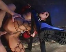 Whorish brunette in ripped panty hose gets her asshole slammed doggy style