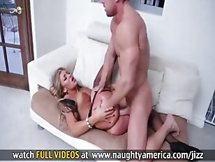 Hot blondy seduces step son into fuck.