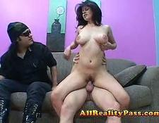 Spanish whore rides massive dick in front of man