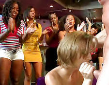 Dozens of babes give head on party