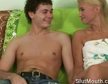 attractive petite blondy swallowing rod and it gets rougher