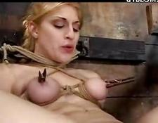 blondy lady Legs Tied To Wall On A Box Leg Hitten With Stick Whipped snatch sexed With Toy Fingered Tongue Piercing Hooked To vagina In The Dungeon