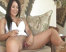 yummy busty brunette young masturbating her wet pussy