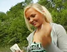 Sporty euro babe sex in public for money