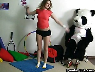 Sporty sweet teen rides with funny Pan.