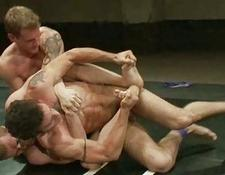 three gay males having sleazy sex after wrestling match