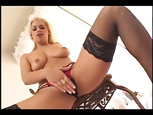 blonde fingering in thigh high fishne.
