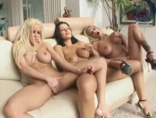 Hot enormous titted lesbian threesome