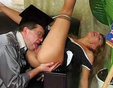 older professor cums all over his student