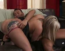 Busty blondie with booty tattoo gets her minge licked by tattooed hunk