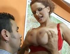 Hot blondy teacher with humongous boobies getting her breasts licked and touched