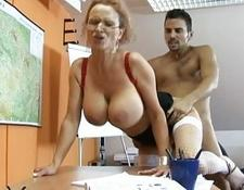 wild blondy teacher with big breasts getting her pussy nailed