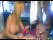 three horny lesbians play with giant dildo busty blondy swallowing pussy fingering fisting double penetration toys anal sex cunt fuck  cumming