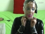 French lady in catsuit play with dildo on webcam by bigblack1971