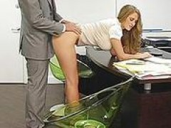 yellow-haired secretary bent over her desk and drilled