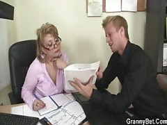 Office woman rides her employee