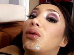 Katsumi recieves a sticky load of sperm on her chin