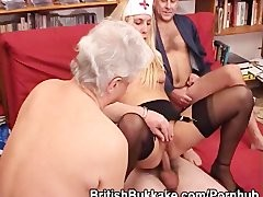 A younger blonde nurse is hammered by a group of grandpas
