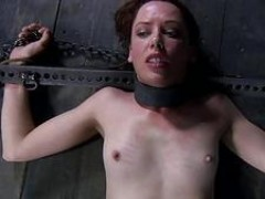 Spreading open slaves cunt