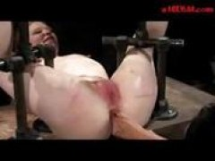 lady Tied To Metal Frame Getting Her vagina Stimulated With Vibrator Whipped By Master butthole drilled With Strapon By Mistress In The Dungeon