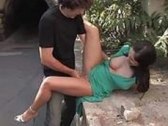 Long legged Lea gets banged and spermed in public