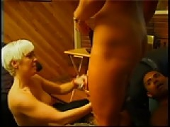 2 insatiable ladies and a dude in dick swallowing pussy licking threesome fun