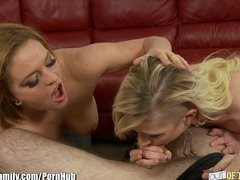 Mother Teachers Her Daughter How to lick dick
