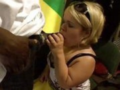 Horny midget Stella swallowing black sausage